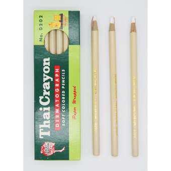 ดินสอ เขียนกระจก Thai Crayon สีขาว No.0202 1 กล่อง