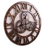 ขาย The New American Industrial Metope Adornment Style Wooden Wall Clock Brown จีน ถูก