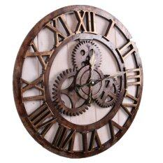 ซื้อ The New American Industrial Metope Adornment Style Wooden Wall Clock Brown ใหม่