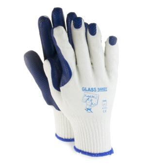 GLASS HANDY ถุงมือยกกระจก แบบหนา เคลือบยางหนาสองชั้น สีน้ำเงิน