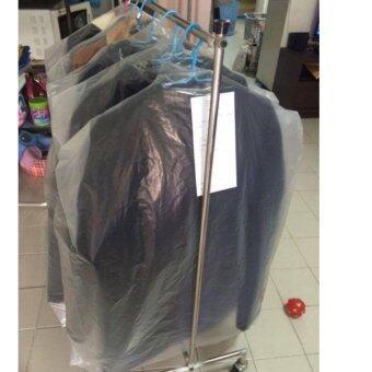 ถุงพลาสติกตัดไหล่คลุมผ้ามีขยายข้าง ขนาด22x36นิ้ว ชนิดขาวขุ่นPE ตราปันสุขพลาสติก