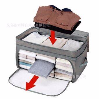 TIPS2KEEP กระเป๋าเก็บเสื้อผ้าเครื่องนอน เปิดบนเปิดข้าง 3 ช่อง สีเทา (Gray: 3 Partitions clothes storage bag )
