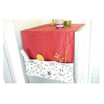 TIPS2KEEP ผ้าคลุมตู้เย็น ชายผ้าคลุมเป็นกระเป๋าใส่ของใช้ได้  สีแดง-