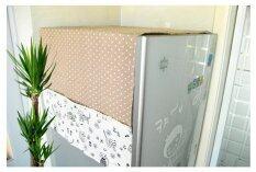 Tips2keep ผ้าคลุมตู้เย็น ชายผ้าคลุมเป็นกระเป๋าใส่ของใช้ได้  สีครีม.