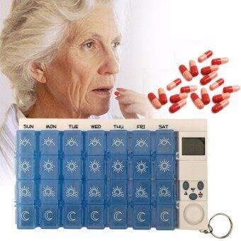 ตลับใส่ยา Pill Box แบบ 7 วัน พร้อมเสียงปลุกเตือน (สีฟ้า)
