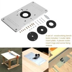 Tmishion 235*120*8mm Aluminum Router Table Insert Plate With 4 Rings And Screws For Woodworking Benches - Intl.