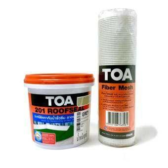 TOA 201 Roofseal อะคริลิคทากันน้ำรั่วซึม 1kg (สีเทา) และ TOA Fiber Mesh ผ้าตาข่ายไฟเบอร์กลาส ใช้เพิ่มแรงยึดเกาะพื้นผิวในจุดแตกร้าว 8
