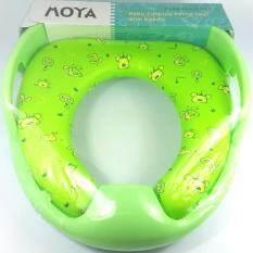 Toilet Seat ฝารองนั่งชักโครก เด็ก เสริมฟองน้ำแบบมือจับ สีเขียว ถูก