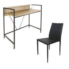 U Ro Decor ชุดโต๊ะทำงานอเนกประสงค์ โต๊ะคอมพิวเตอร์ รุ่น Lincoin ลิงคอร์น สีโอ้คธรรมชาติ น้ำตาลเข้ม เก้าอี้รับประทานอาหาร รุ่น Domino สีดำ เป็นต้นฉบับ