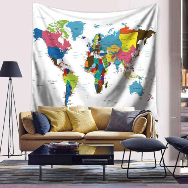ซื้อที่ไหน Vintage Style World Map Wall Tapestries Bedspread Table Cloth Curtain Home Decor Style: