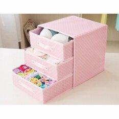 Vivigift ลิ้นชักเก็บของ กล่องใส่ของ กล่องใส่เครื่องสำอาง กล่องใส่เครื่องประดับ กล่องใส่ชุดชั้นใน ลิ้นชักเก็บเสื้อผ้า เก็บของ 3 ชั้น สีชมพูลายจุด กรุงเทพมหานคร