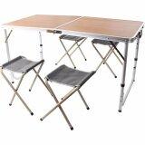 ราคา Vkp โต๊ะปิคนิคพับได้อลูมิเนียม 120X60 Cm พร้อมเก้าอี้พับได้ 4 ตัว ลายไม้สีน้ำตาล ใน กรุงเทพมหานคร