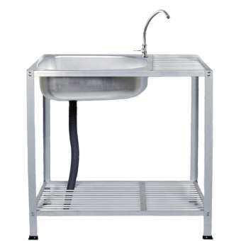 (PreOrder - จัดส่งภายใน 12เมษา)HOMENINE ซิ้งค์ล้างจาน อ่างล้างจาน อลูมิเนียม 2ชั้น ใหญ่ เจาะรู มีก๊อก