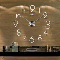 ซื้อ นาฬิกาบนผนังห้องรับแขกซ่อมนู่น 3D ศิลปะการออกแบบตกแต่งกระจกบ้านใหญ่เงิน