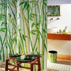 ผ้าม่านห้องอาบน้ำฝักบัวผ้าม่านห้องน้ำ Bamboo Tree ภูมิทัศน์ธรรมชาติ 12 ตะขอ ถูก