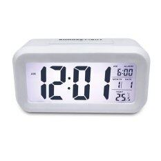 White Backlight Smart Night Light Digital Bedroom Alarm Clock With Date And Temperature White ใน จีน