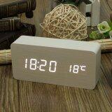 ซื้อ White Digital Led Alarm Modern Clock Calendar Thermometer Usb Aaa