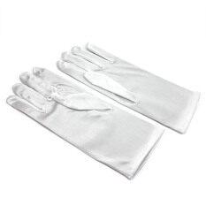 Whyus 1 คู่ผู้หญิงซาตินปาร์ตี้ Dressing ถุงมือนิ้วสั้น (สีขาว).