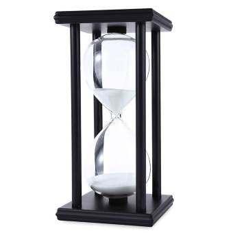 Whyus - ใหม่ทนทาน 30 นาทีตัวนับเวลานาฬิกาทรายจับเวลา Retro นาฬิกาทรายทำด้วยไม้นาฬิกากรอบสีดำทรายขาว