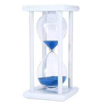 Whyus - ใหม่ทนทาน 30 นาทีตัวนับเวลานาฬิกาทรายจับเวลา Retro นาฬิกาทรายทำด้วยไม้นาฬิกากรอบสีขาวทรายสีน้ำเงิน