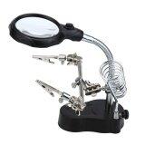 ราคา Womdee 3 5X 12X Led Magnifying Glass Helping Hand Magnifier Tool With Soldering Iron Stand Adjustable Alligator Clip Clampsworkstation Light Battry Powered Intl ใหม่