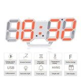 ซื้อ Womdee 3D Digital Alarm Clock 3 Adjustable Brightness Levels Led Wall Clock With Date And Temperature Display For Home Bedroom Office Intl จีน