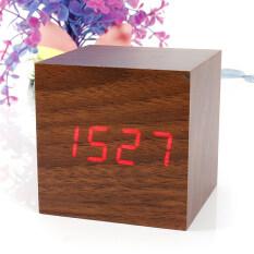 ราคา Wood Cube Led Alarm Voice Control Digital Desk Clock Wooden Thermometer Unbranded Generic Thailand