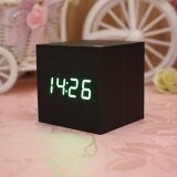 โปรโมชั่น Wood Cube Led Alarm Voice Control Digital Desk Clock Wooden Thermometer Intl ใน จีน
