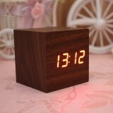 ทบทวน Wood Cube Led Alarm Voice Control Digital Desk Clock Wooden Thermometer Intl