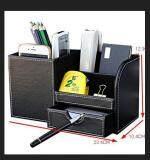 โปรโมชั่น Wooden Leather Multifunction Desk Stationery Organizer Storage Box Pen Pencil Holder Case Intl ถูก