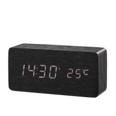 ราคา ไม้นาฬิกาปลุกเวลา วันที่ อุณหภูมิไม้ไผ่นาฬิกาไม้สีดำเสียงตารางนาฬิกา Reloj Despertador Wekker นานาชาติ ออนไลน์ จีน