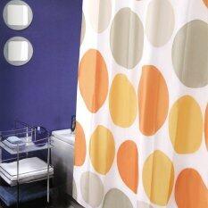 โปรโมชั่น ชุดม่านห้องน้ำและตะกร้าผ้าสปริง Wsp Scp50 Tk33 M04 ลายพิมพ์พื้นขาว วงกลมสีส้ม Wsp
