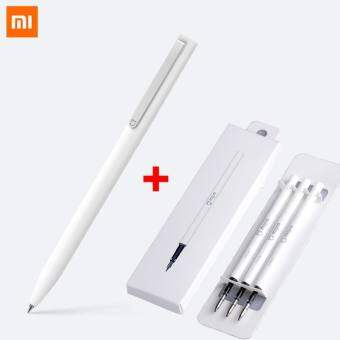 เซตสุดคุ้ม ปากกาคุณภาพสูง เสี่ยวหมี่ ปากกา XIAOMI MIJIA SIGN PEN 0.5 mm แท่งสีขาว หมึกสีดำ + 1 กล่องไส้ REFILL( 3 ไส้)