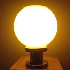 ซื้อ Xml Solar โคมไฟหัวเสาทรงกลม 25 ซม ฐานสแตนเลส แสงสีเหลืองวอมไวท์ ใหม่ล่าสุด