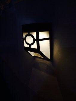 XML-Solar โคมไฟผนัง 2 LED (เเสงเหลืองวอมไวท์) พลังเเสงอาทิตย์