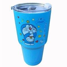 โปรโมชั่น แก้ว Yeti Rambler แก้วเก็บความเย็น สีฟ้า ลาย Doraemon Limited Edition ขนาด 30 Oz ฝาขาวใส ถูก