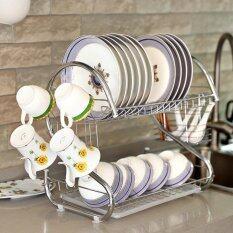 Yifun Stainless Steel S-Type Drain Racks Double-Layer Dishes Kitchen Racks Multi-Function Dish Racks ชั้นคว่ำจาน/ชาม ขาโค้ง ใหญ่ .