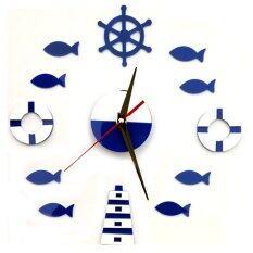 ขาย ซื้อ Yika Diy Mute Wall Clock Home Office Room Decor Sticker Blue