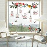 Yika Flower Vine Bird Cage Wall Stickers Art Decal Home Decor Mural Paper Vinyl Lobby Intl ถูก