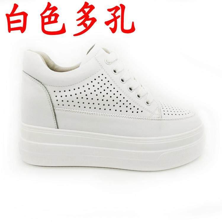 หนังบริสุทธิ์รองเท้าสีขาวหญิงหนังแท้ 2019 ใหม่สไตล์ฤดูใบไม้ผลิเพิ่มความสูงด้านในรองเท้าสตรี 8 Cm ลำลองส้นเตารีดพื้นหนารองเท้าส้นเตารีด By Taobao Collection.