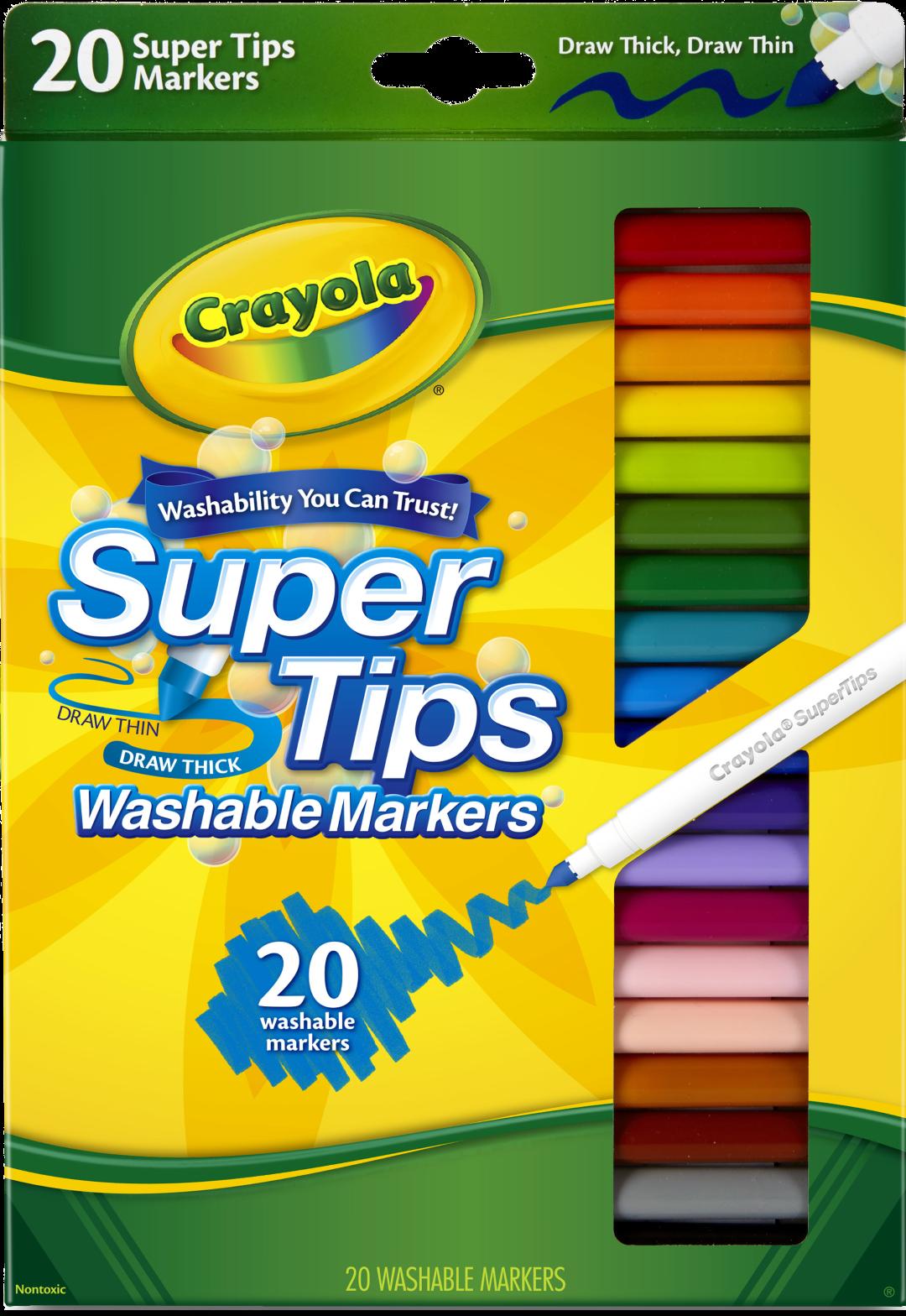 Crayola สีเมจิกล้างออกได้20สี ซุปเปอร์ทิปส์ ( Crayola Supertips ).
