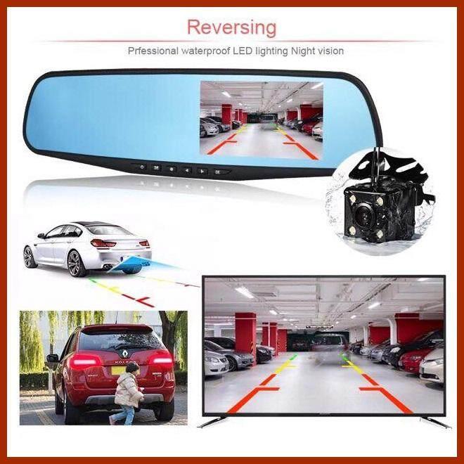 กล้องติดรถยนต์กระจกมองหลัง 2 กล้อง หน้า+หลัง 4.3″ 1080p Full Hd กล้อง  กล้องติดรถยนต์ กล้องติดรถ กล้องราคาถูก ( จัดส่งฟรี ).