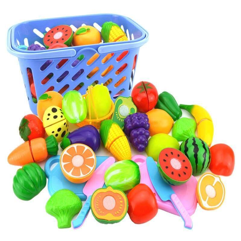 ของเล่น ของเล่นเด็ก ของเล่นผลไม้ ผลไม้ปลอม ผักปลอม 8pcs/set Plastic Fruit Vegetables Cutting Toy Early Development And Education Toy For Baby.