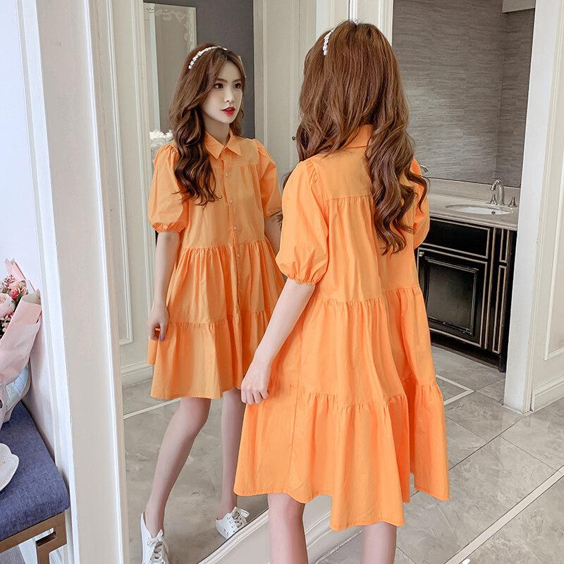 JIEGENG HOME Kiểu Pháp Tím Guimi Mặc Váy Nữ 2020 Mùa Thu Mẫu Mới Phiên Bản Hàn Quốc Tay Bồng Búp Bê Áo Sơ Mi Đầm