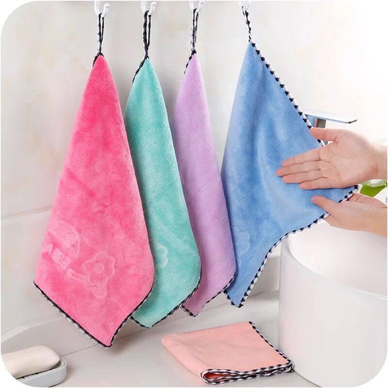 ผ้าเช็ดมือ นาโน ผ้าเช็ดโต๊ะ 1 ผืน คละสี.