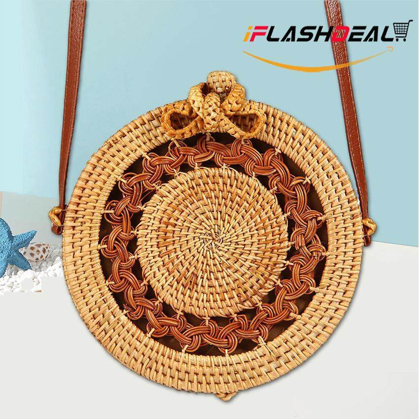 iFlashDeal Handwoven Bag Women Shoulder Crossbody Bags Handmade Round Rattan Bag Classic Leather Straps Natural Chic Sling Bag Brown for Summer Beach