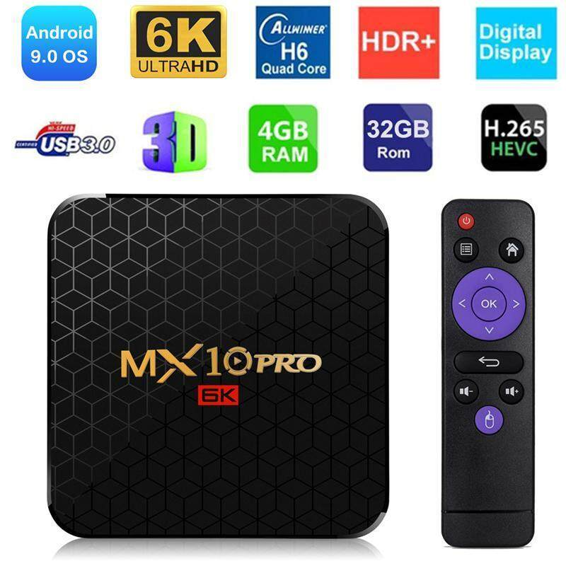 ส่วนลด  พระนครศรีอยุธยา MX10 PRO TV Box Android 9.0 Full HD H6 6K HD Display 4 + 32/4 + 64 กล่องรับสัญญาณ