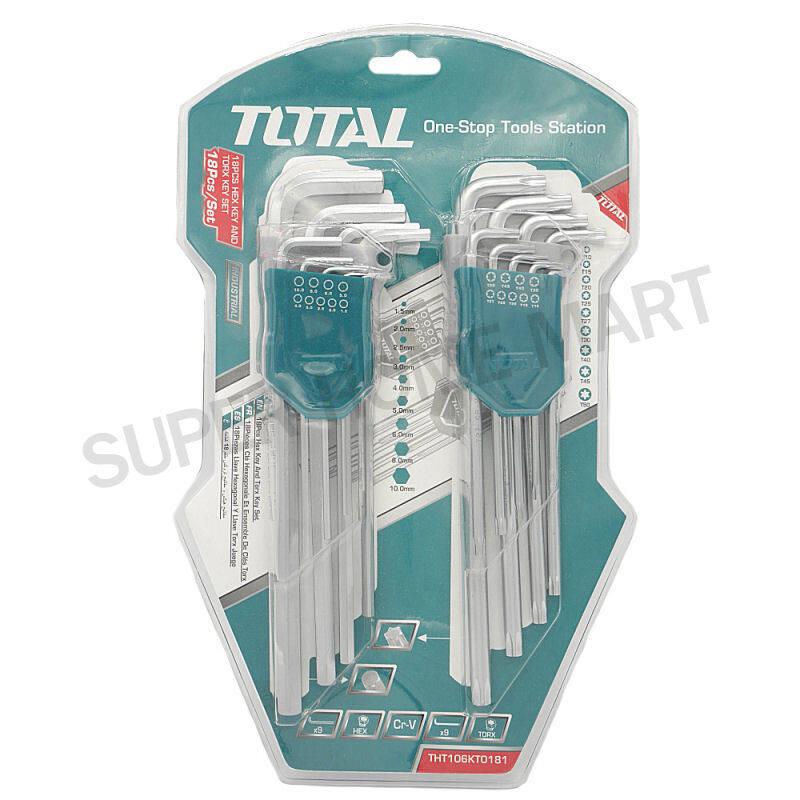 Total กุญแจหกเหลี่ยม ยาว หัวตัด + หัวท๊อกซ์ ในคลิปพลาสติก 18 ชิ้นชุด รุ่น THT106KT0181 ( Key Wrench ) ประแจหกเหลี่ยม
