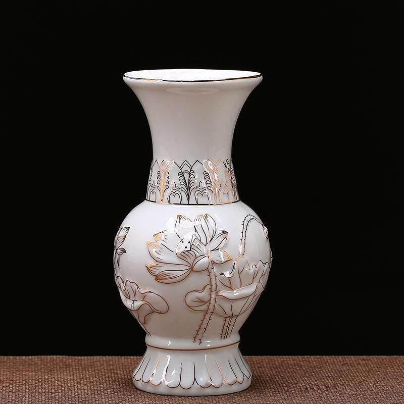 Xiangshi Ceramic Buddhist Offering Vase Guanyin LOTUS Large Size before the Buddha LOTUS for Bottle of Buddhist Prayer Room Buddish Prayer Set Holy-water Vase Flower Container