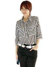 Fashionstory เสื้อเชิ้ต ผ้าไหมอิตาลีเนื้อดีลายทางทูโทน สีขาว ใน Thailand